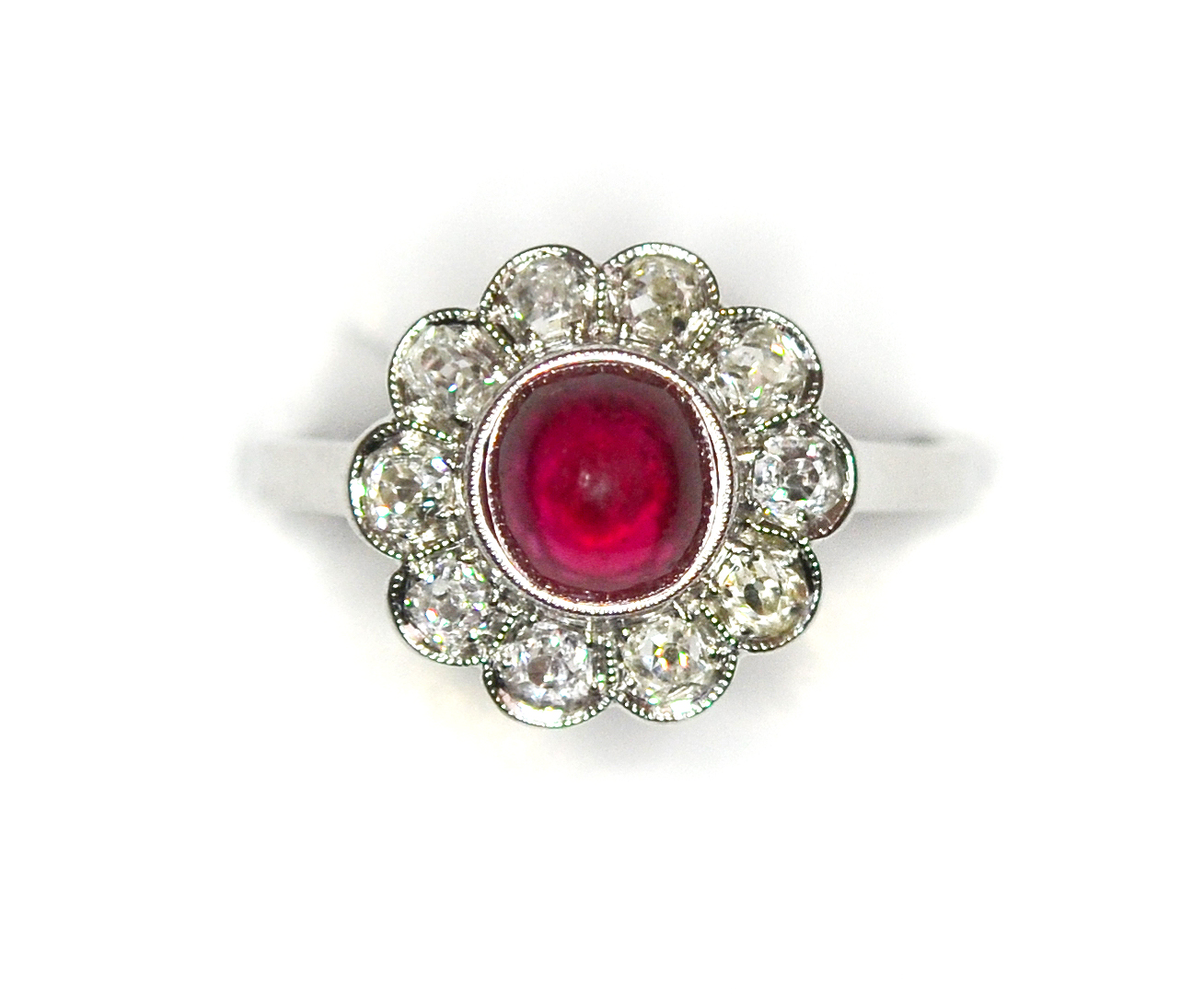Edwardian Ruby Diamond Flower Cluster Ring in Edwardian jewelry Jew