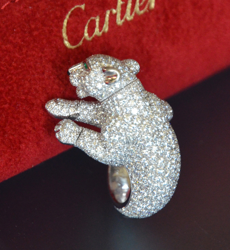Panthere cartier panther feline diamond ring in estate jewelry panthere cartier panther feline diamond ring mozeypictures Image collections