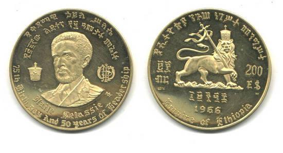 1966 Ethiopia Royal 22K GOLD coin 200$ RARE