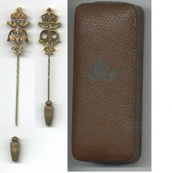 1908 Bulgaria Royal King gold pin diamonds RR
