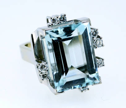 1950 Danish Modernist Aquamarine Diamond Ring