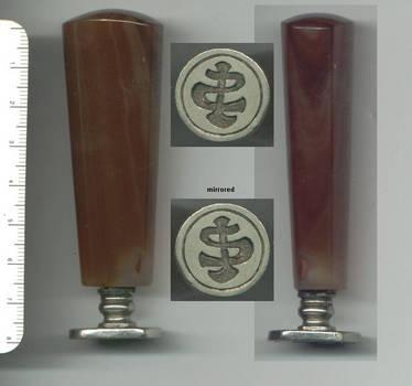 1900 Germany heavy agate & silver wax seal RR