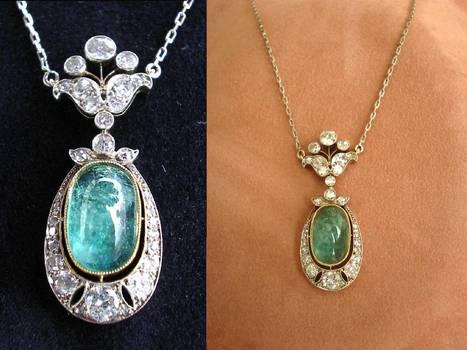 French Art Deco Emerald & Diamond necklace !