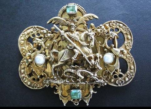 Renaissance St. George Emerald Brooch Clasp