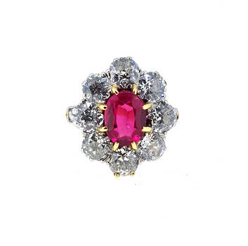 Victorian Flawless Ruby Diamond Pansy Ring