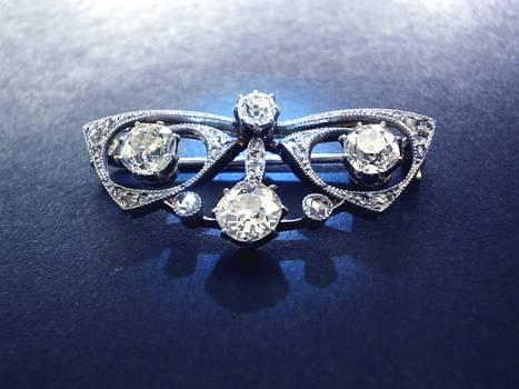 French Art Nouveau DIAMOND butterfly brooch !