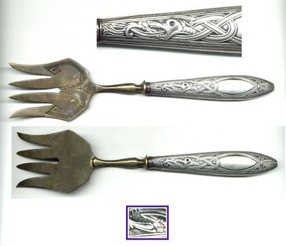 French Art Nouveau silver Dragon serving fork