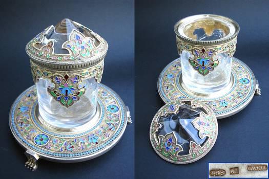 c1890 Russian silver & crystal sugar bowl RRR