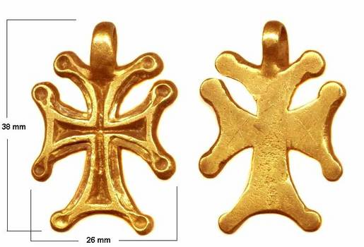 IXc. Byzantine 24K GOLD HEAVY cross pendant R