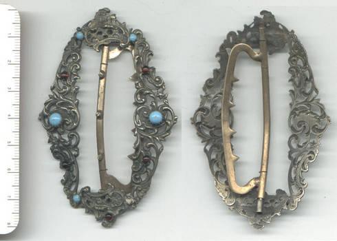 Vintage ROCOCO large garnet turquoise clasp
