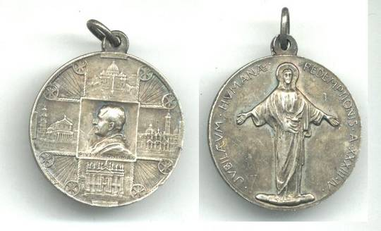1933 Vatican Pope Pius XI silver medal NICE 3