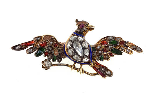 Georgian Diamond Ruby Bird of Paradise Brooch