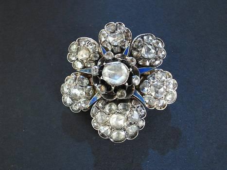 Georgian Gold DIAMOND flower pendant brooch !