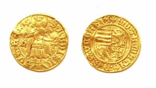 1458 Hungary KRONSTADT gold ducat coin RARE !