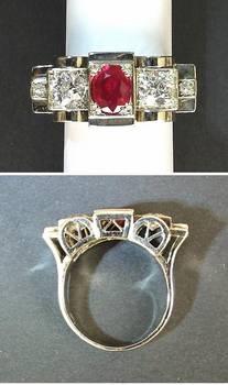 Art Deco Burma Ruby & Diamonds ring 14K Gold