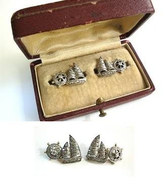 Victorian Sailboat & Rudder Diamond Cufflinks