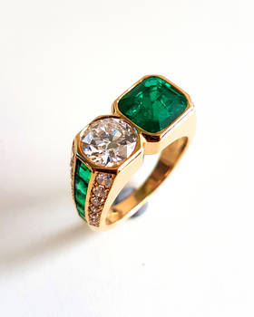 c1970 ILLARIO Diamond Emerald Moi et Toi Ring
