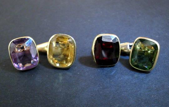 Art Deco Tutti Frutti Gems Gold Cufflinks