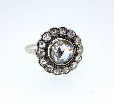 Victorian Rose Cut Diamond Pansy Cluster Ring