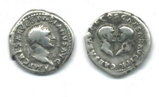 1AD Roman silver denarius coin VESPASIAN sons