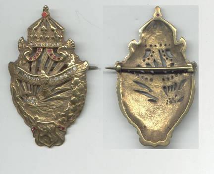 WWII Bulgaria Royal pilot badge GOLD DIAMONDS