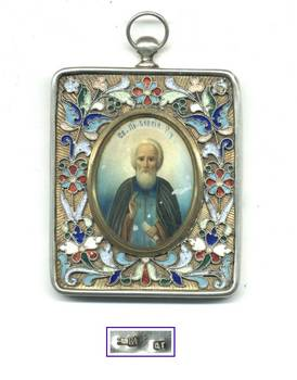 1908 Russia GUBKIN St. Sergei silver icon RRR