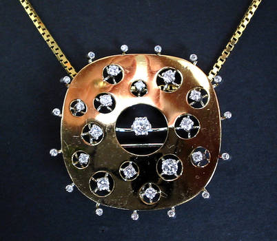 Space Age Celestial Diamond Necklace Pendant