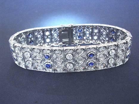 Art Deco Gold & Platinum Diamond Bracelet !