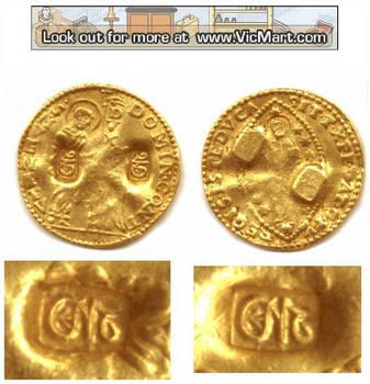 1670 Venice Cyprus counterm. gold ducat coin