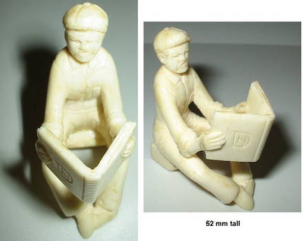 1940s European Art Ivory man & book sculpture