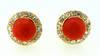1940s Retro Red Coral Diamond Stud Earrings