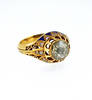 Georgian Enamel Diamond 22K Coin Gold Ring