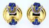Vintage Italian Oval Sapphire Gold Earrings