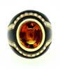 SABBADINI Golden Citrine Diamond Onyx Ring