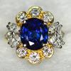 1980s Natural Burma Sapphire Diamond Ring GIA