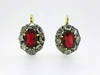 Georgian Red Spinel Rose Cut Diamond Earrings