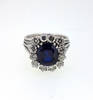 Retro 1950s Burma Sapphire and Diamond Ring