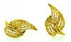 Vintage Lalaounis Bamboo Gold Earrings Clips