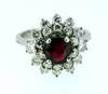 1950s Retro Burma Ruby Diamond Cluster Ring