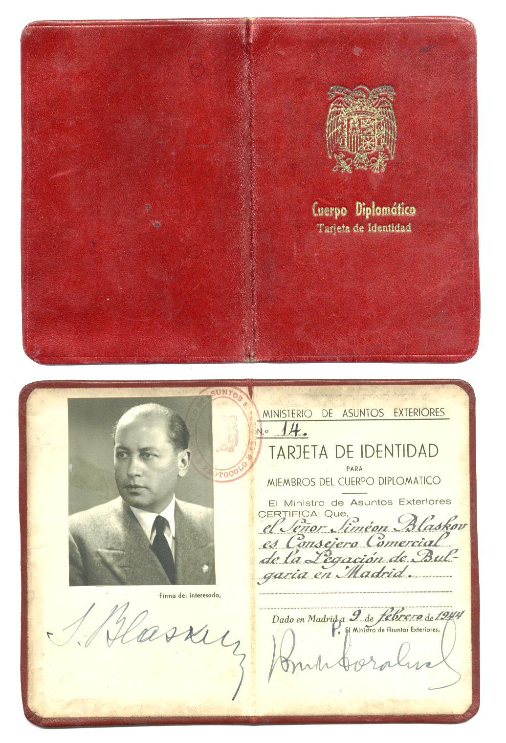 Wwii Spanish Diplomatic Pass Id Passport Rare