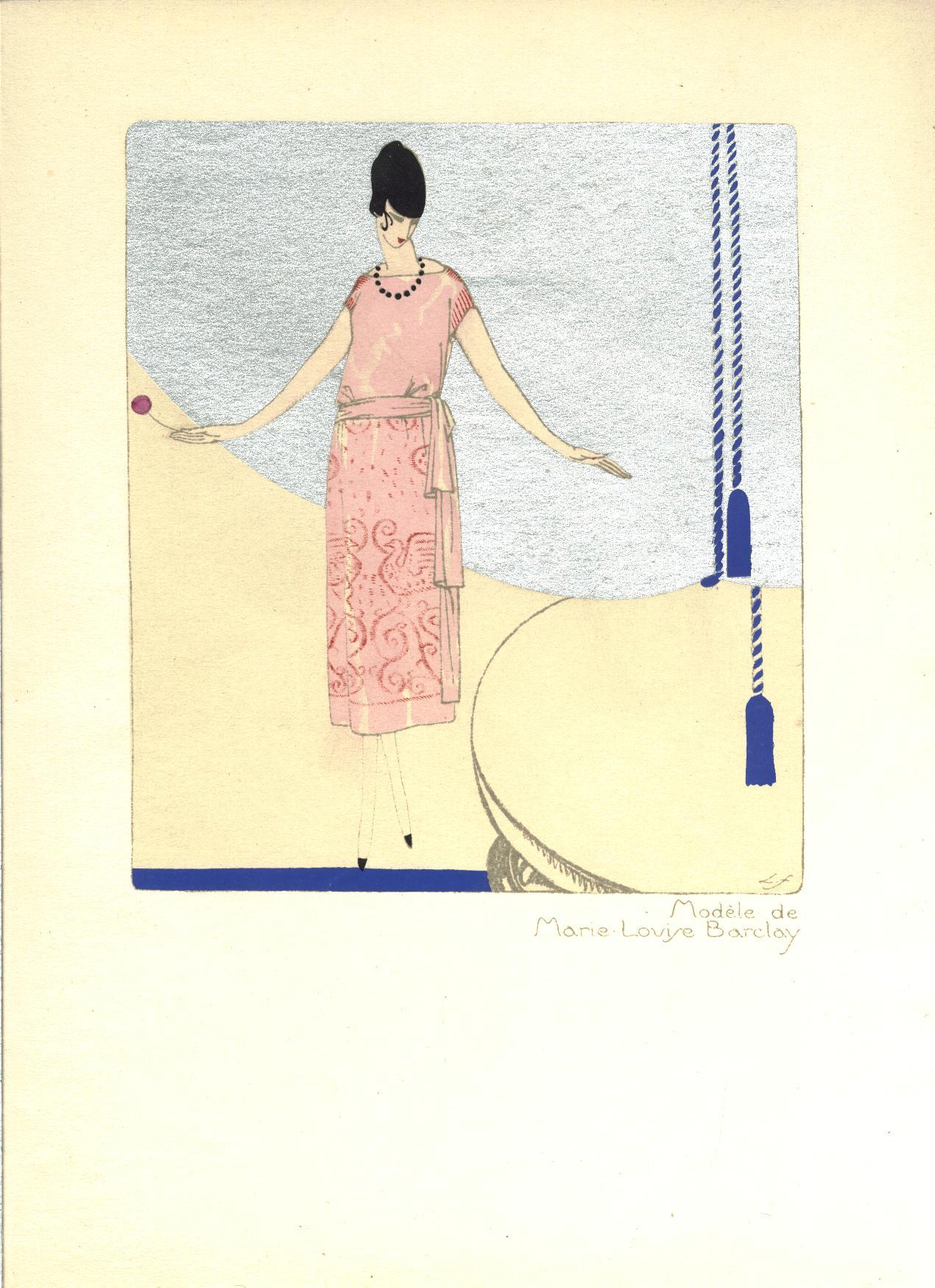 1922 art deco llano florez pochoir print rare for Pochoir deco