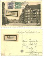 1927 Sweden Austria airmail cover postcard RR