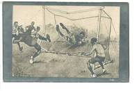 1927 Football Soccer comic sketch postcard RR