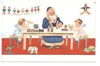 1920 BLUE Santa Christmas artist postcard RRR