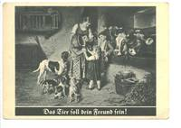 OLD Germany dogs & cows family postcard NICE