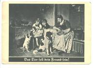 Vintage German Hunting dog & family postcard