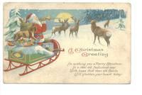 1928 US Xmas Santa playing tube postcard NICE