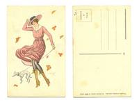 Art Deco Artist signed Lady & wind postcard !