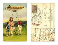 1915 Germany Lucky Zeppelin clover postcard R