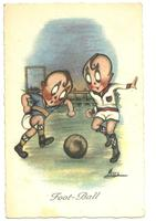 Art Deco Artist Signed football postcard RR